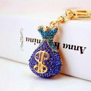 Gold Tone Blue Crystal Money Keychain & Purse Tag